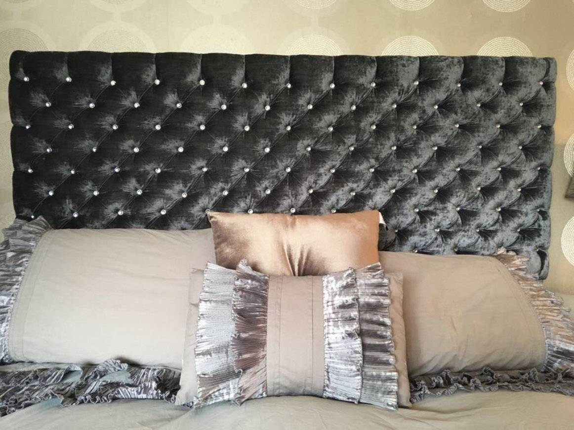 Brown velvet headboard